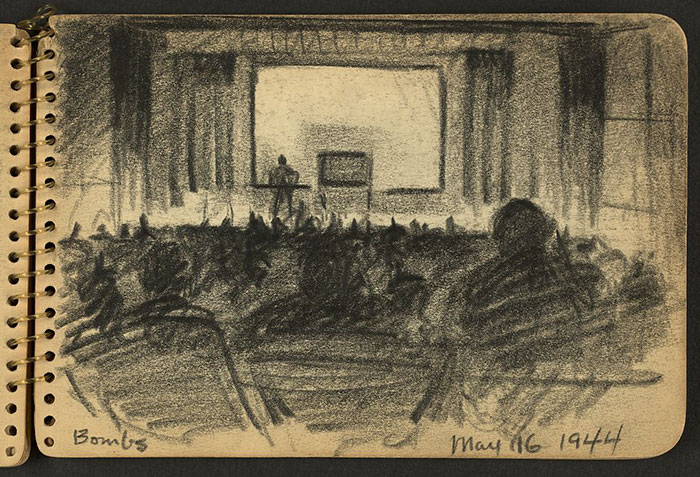 21-Year-Old WWII Soldier's Sketchbooks Show War Through The Eyes Of An Architect - Bombs. Audience In Auditorium Listening To Lecture While Stationed At Fort Jackson, South Carolina