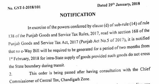 No e-way bill required till 01.04.2018 for intra-state supplies of goods in Punjab