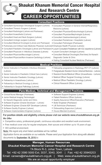 Doctors Jobs in Shaukat Khanum Hospital