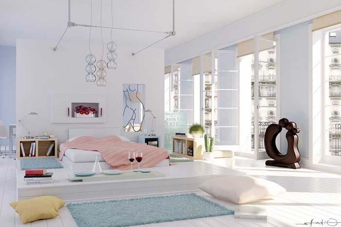 bohem beyaz yatak odası dizaynı