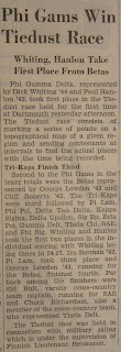 "A newspaper article titled ""Phi Gams Win Tiedust Race."""