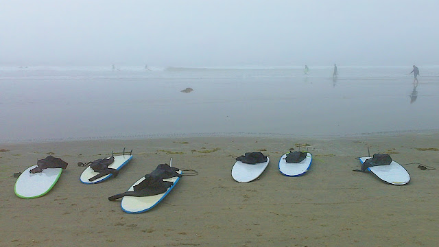 Surfbooards in the mist await riders at Tofino, BC.