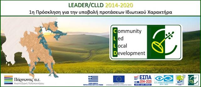1η Πρόσκληση Υποβολής Προτάσεων Ιδιωτικού Χαρακτήρα του Τ.Π.CLLD/ LEADER