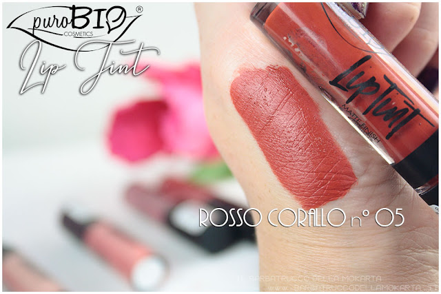 rosso corallo 5 Liptint lipgloss purobio cosmetics swatches review makeup naturale