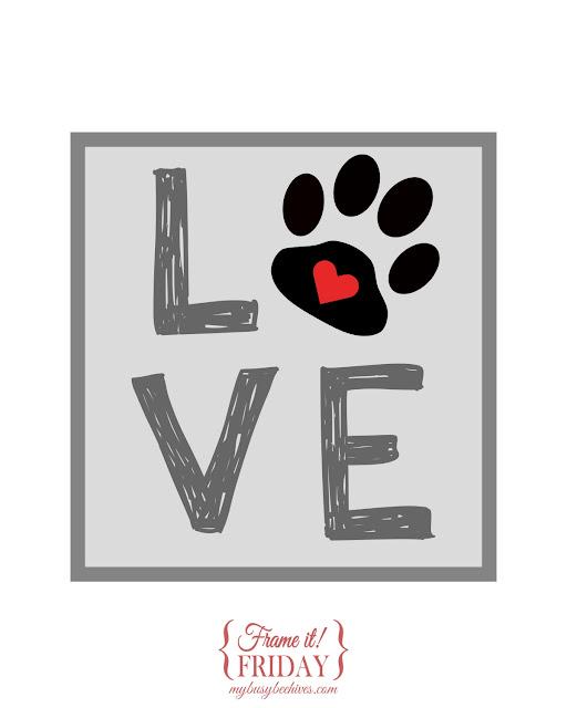 LOVE, a free paw-print printable