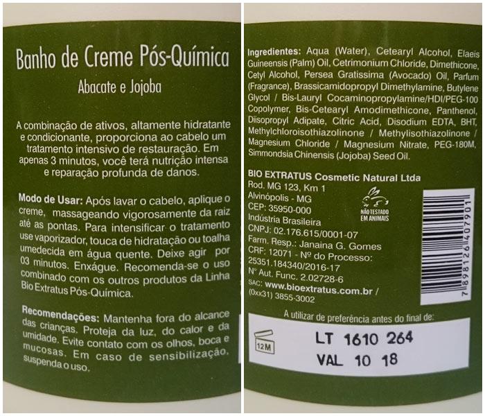 Ingredientes e informações no rótulo do Banho de Creme Abacate e Jojoba
