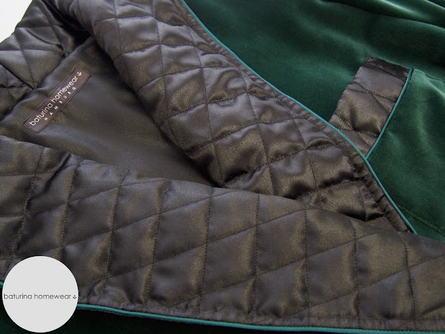 Mens luxurious dark green and black long velvet robe with classic shawl collar quilting and piping, fully lined.