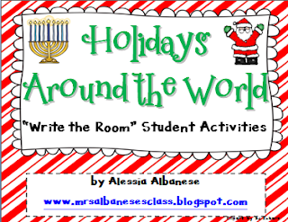http://www.teacherspayteachers.com/Product/Write-the-Room-Literacy-Centre-Holidays-Around-the-World-1004968
