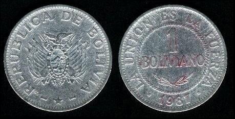 Moneda Oficial De Bolivia Desde 1986 En Se Paga Con Bolivianos Fracciona Cien Centavos