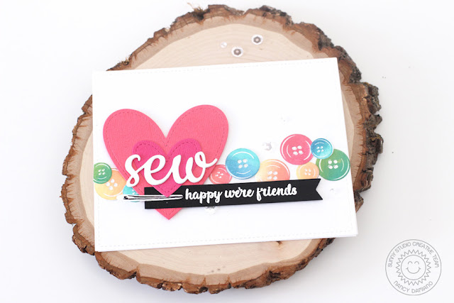 Sunny Studio Stamps: Cute As A Button Friendship Button Card by Nancy Damiano