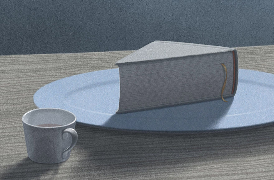 02-Morning-Jungho-Lee-Illustrations-of-Book-Lovers-Surreal-Wolds-www-designstack-co
