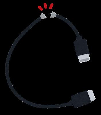 断線したケーブルのイラスト(USB)