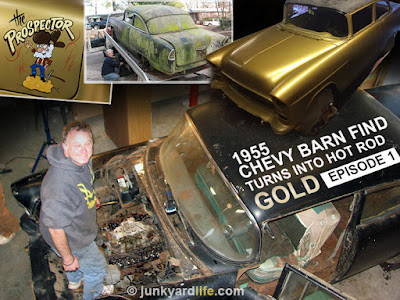 "Before and After photo collage of moss-covered 1955 Chevy on rollback, gold-painted shell, detail of cartoon retro ""Prospector"" on trunk lid."