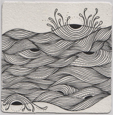 zentangle crescent moon seawave IAST #171