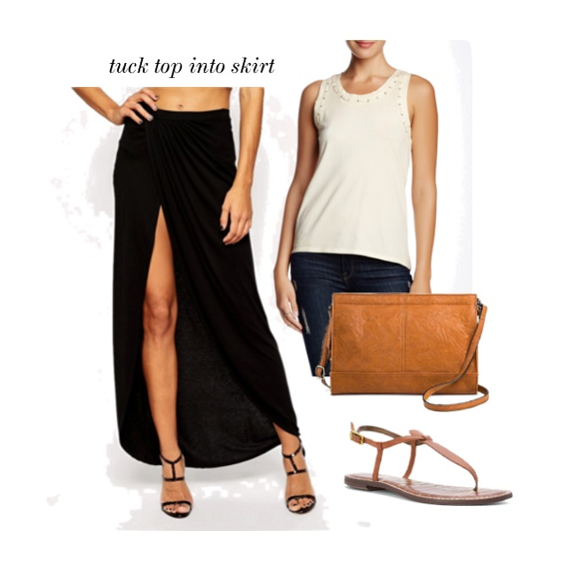 casual maxi skirt look