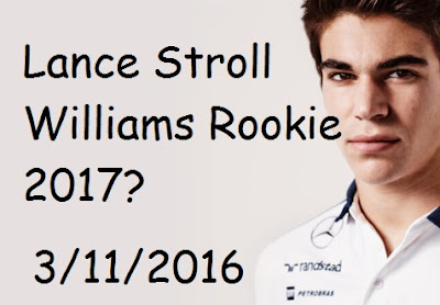 Canadian Lance Stroll new rookie for Williams 2017