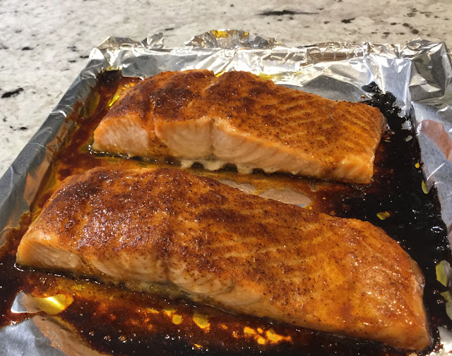 Sweet and Spicy Salmon baked in the oven.