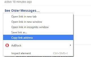 Copying Link Address for Facebook Messages