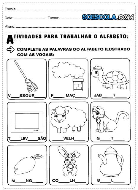 Atividades de português com Vogais