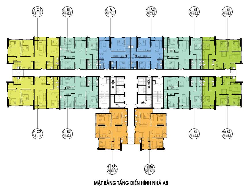 Mặt bằng chi tiết căn hộ toà A8 tại chung cư An Bình City