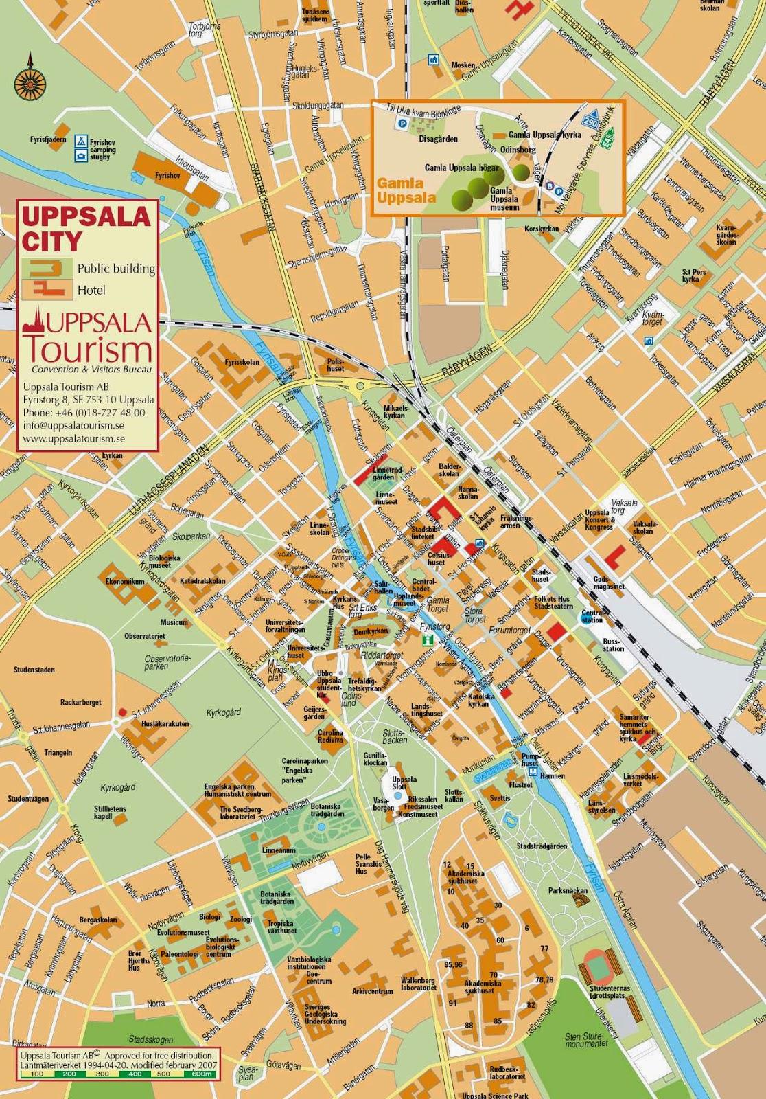 Mapa turistico de Uppsala. Visitando Suecia: Un dia en Uppsala