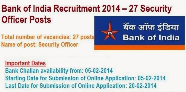 Bank of India Recruitment 2014 – 27 Security Officer Posts Important Dates