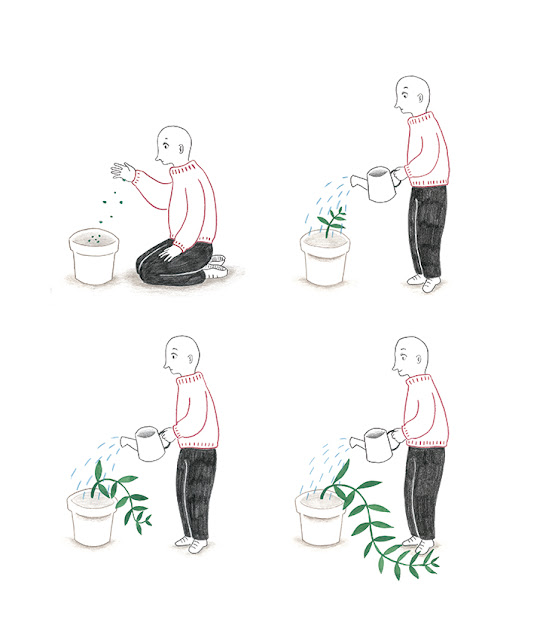 ilustración, ilustración para prensa, ilustración para revista, ilustración botánica, manual de riego, cuidado de plantas, sembrar, regar, cuidado de plantas, planta en crecimiento, enredadera,