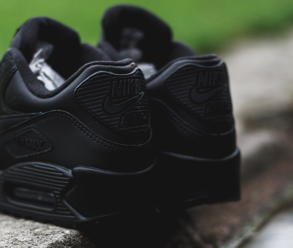 best sneakers 32a6c ae622 Nike Air Max 90 Leather Triple Black