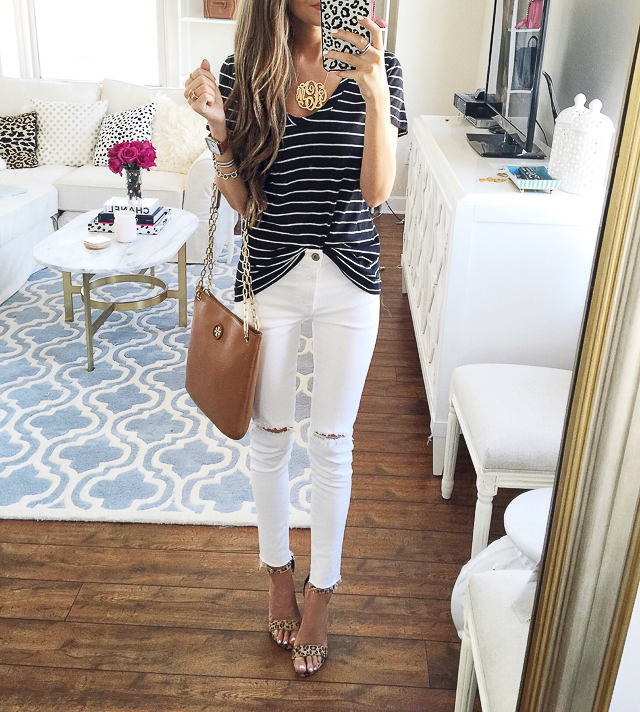 striped tee + white pants + cognac bag