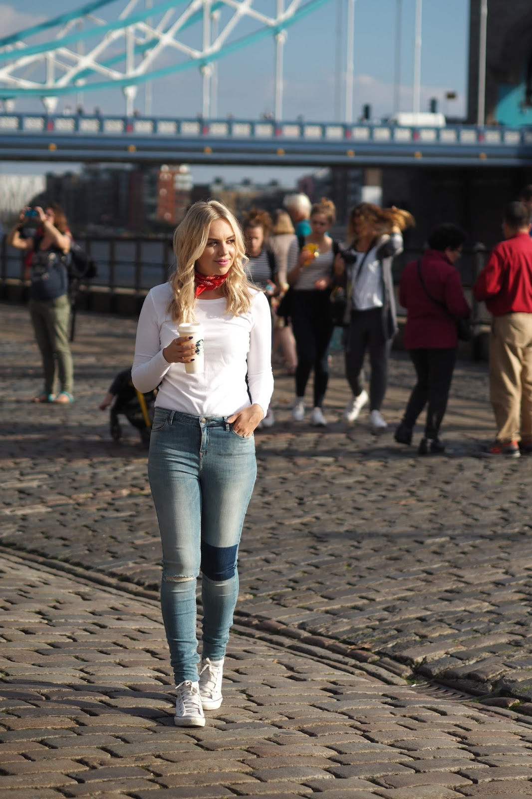 casual basics, patch jeans, neckerchief