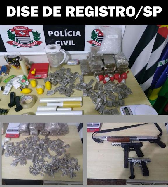 POLÍCIA CIVIL APREENDE ARMAS E DROGAS EM ELDORADO-SP