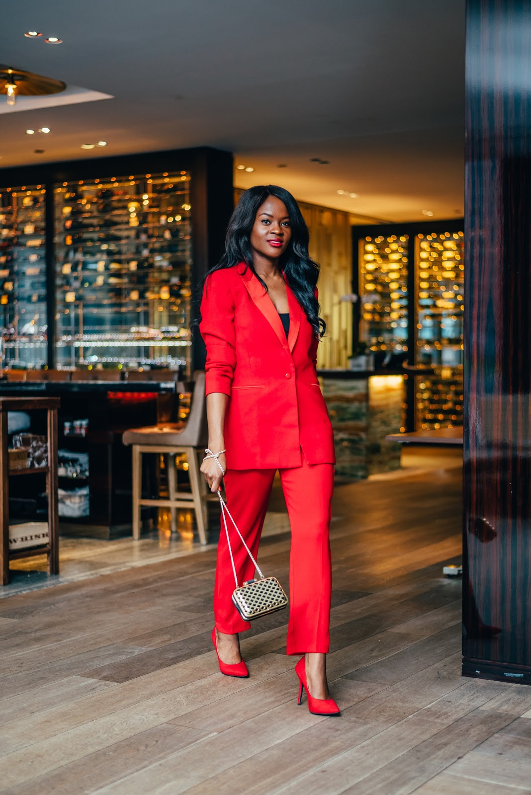 How to pull off a red suit like a fashion girl, Cranberry Tantrums,