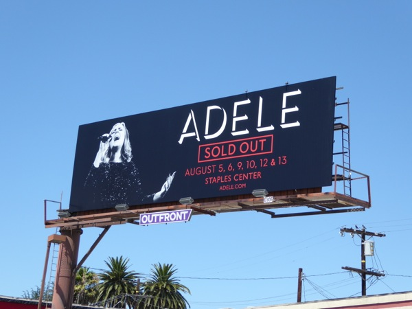 Adele Sold out LA concert billboard
