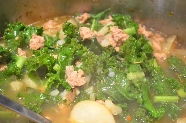 Sausage Kale Potato Soup Zuppa Toscana recipe from Serena Bakes Simply From Scratch.