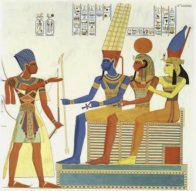 Amun, Khonsu and Mut (from left to right) being worshiped by the Pharaoh