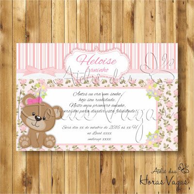 convite digital personalizado aniversário infantil 1 aninho jardim ursinha floral delicado rosa provençal menina festa