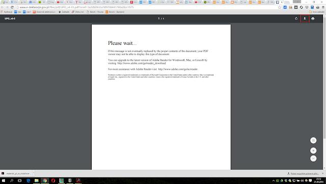 Nieudana próba otworzenia dokumentu pdf z Urzędowym Poświadczeniem Odbioru