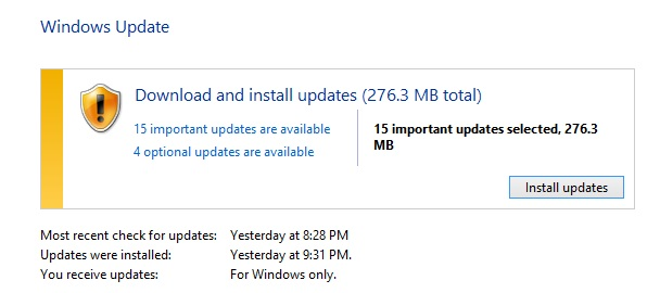 Download and install Microsoft updates