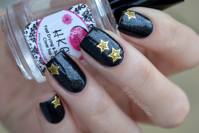 #31dc2015 galaxy nails star stickers black glitter