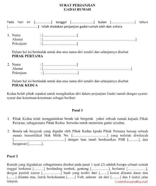 Format & Contoh Surat Perjanjian Gadai Rumah File Ms Word