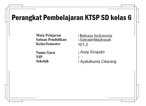 Perangkat Pembelajaran Ktsp Sd Kelas 6 Galeri Guru