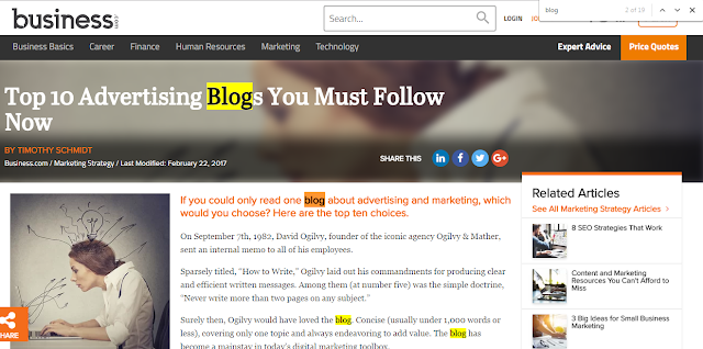 blog marketing webpage