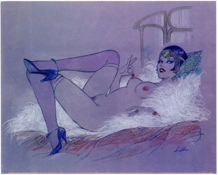 Dibujo azul de mujer de cabaret desnuda mostrando el pezón