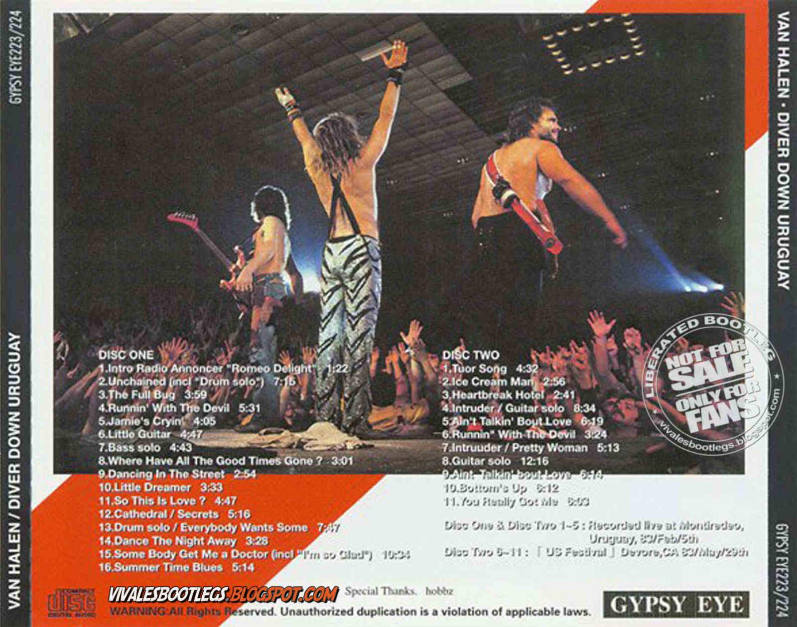 Viva Les Bootlegs Van Halen Diver Down Uruguay Montevideo Uruguay Cilindro Municipal 1983 02 05 Double Cd Soundboard Gypsy Eye Flac