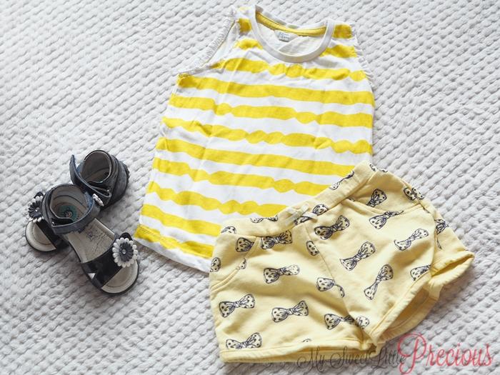 żółty komplet na lato dziewczynka