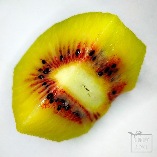 Ciekawe odmiany kiwi (Actinidia chinensis var. rufopulpa), czyli 'Hongyang' o czerwonym wnętrzu. Oryginalne odmiany pnącz owocowych, kiwifruit inn odmiany, smak, wygląd, zdjęcia, wnętrze, owoc