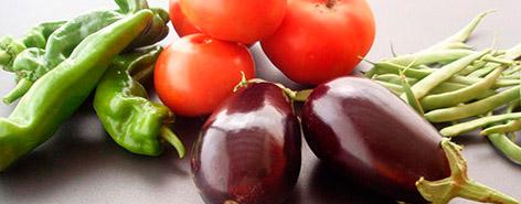 Hortalizas: pimientos, tomates, berenjenas y judías verdes
