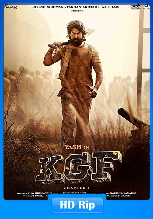K.G.F Chapter 1 2018 Hindi 720p HDRip x264   480p 300MB   100MB HEVC Poster