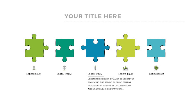 Free Infographic Puzzle Diagrams PowerPoint Template with 5 Pieces Puzzles