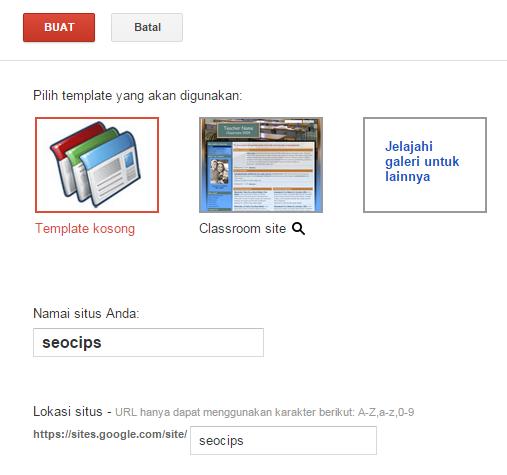 Create New Google site
